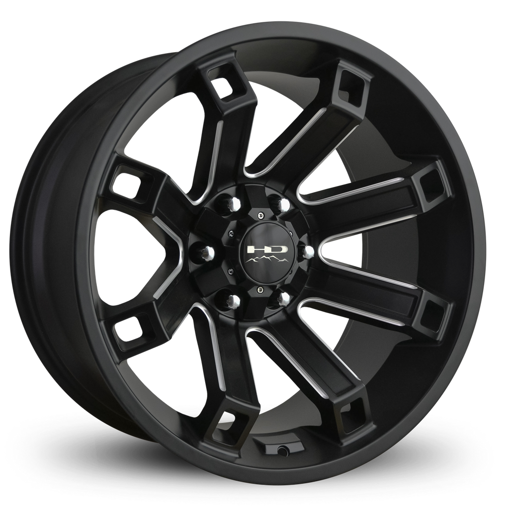 HD Off-Road Wheels Truck Wheels 20x10.0 | 6x135/6x139.7 | et-35mm | 4.13 in | 106.2mm HD Off-Road Hollow Point Wheels | Satin Black Milled