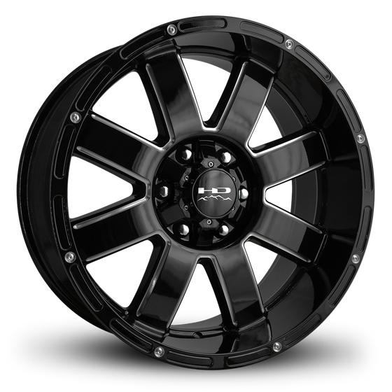 HD Off-Road Wheels Truck Wheels 20x9.0 | 6x135 & 6x139.7 | et -12mm | 4.5 in | 106.2mm HD Off-Road 8-Point Wheels | Gloss Black Milled Edges