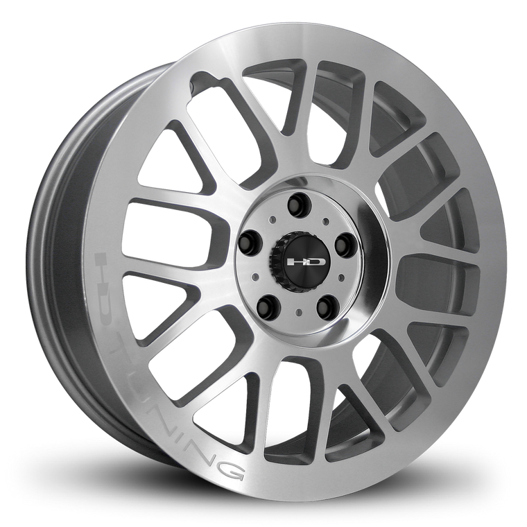 HD Wheels GEAR Silver with Polished Face Custom Rims Mesh Style Racing JDM 5x100, 5x112, 5x114.3