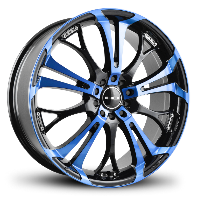 The Original HD Wheels Spinout Blue and Black Colors in 16, 17, 18, & 20 Inch Custom Wheel Rims