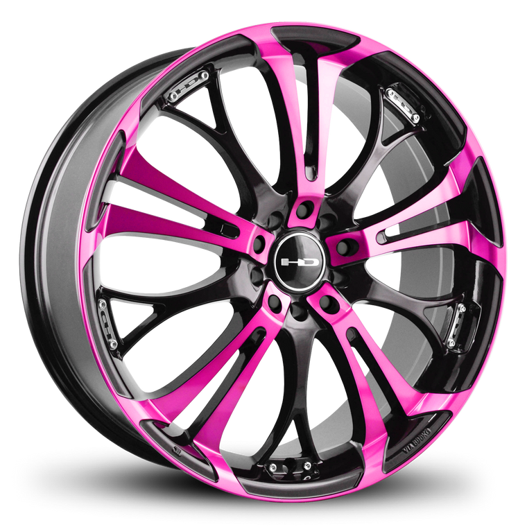 The Original HD Wheels Spinout Pink and Black Colors in 16, 17, 18, & 20 Inch Custom Wheel Rims