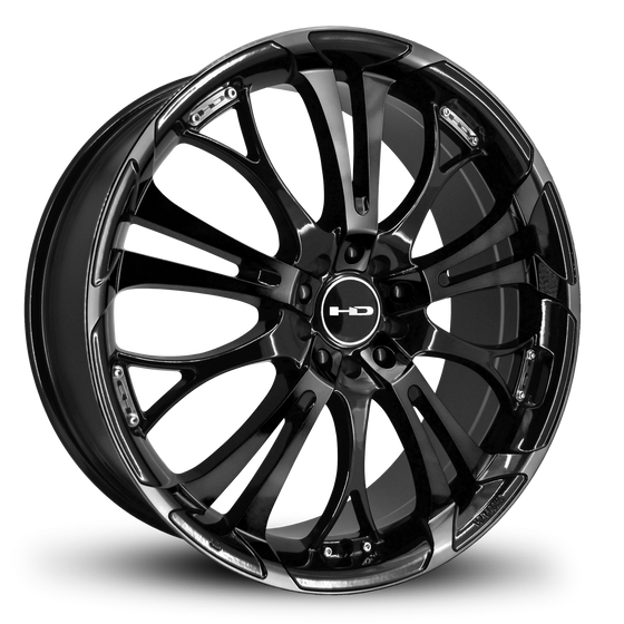 The Original Spinout by HD Wheels in All Gloss Black Finish 17x7.0, 18x7.5, 20x8.0 Custom Stealth Wheel Rims