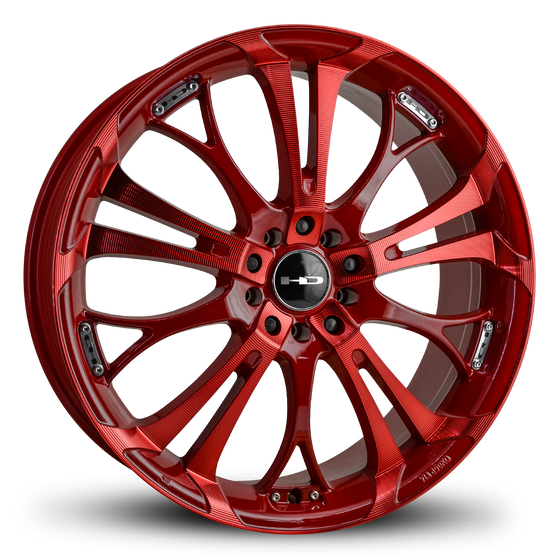 "HD Wheels Passenger Car Wheels 18x7.5 20x8.0 5x100 5x114.3 HD Wheels Spinout Custom Rims All Red w ""Sonic Red"" Machining"