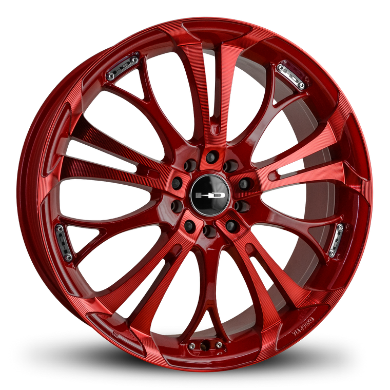 "HD Wheels Passenger Car Wheels 18x7.5 | 5x100/5x114.3 | et40mm | 5.8 in | 73.1mm HD Wheels Spinout | Red w ""Sonic Red"" Machining"