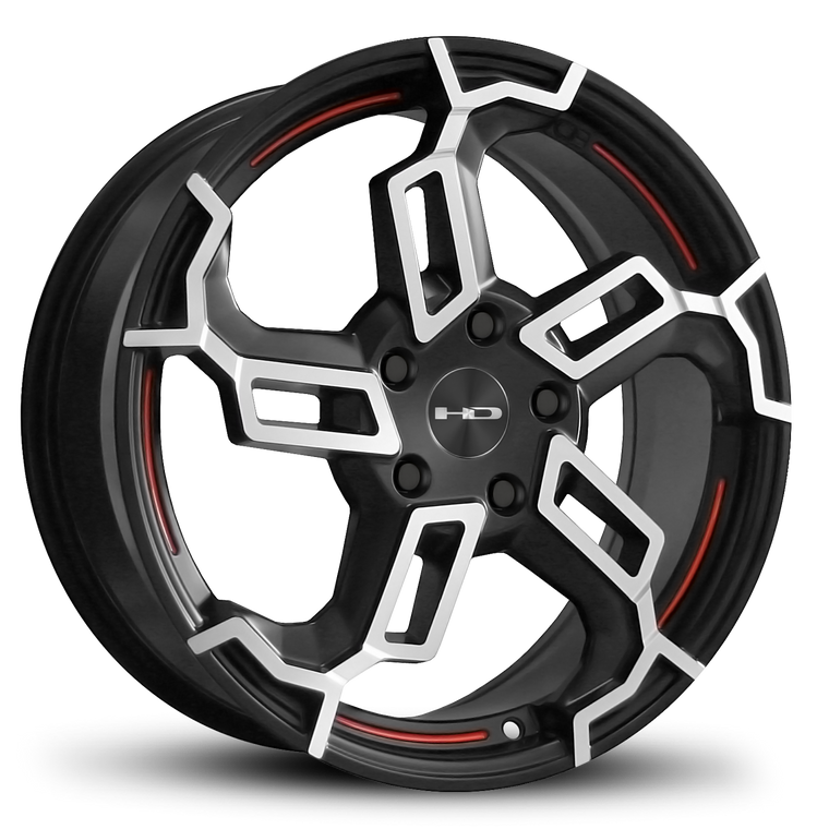HD Wheels Passenger Car Rims Switch Satin Black with Redlines 18x7.5 5x114.3 5x4.50 Different Unique Custom 3 Colors Directional 5 Spoke
