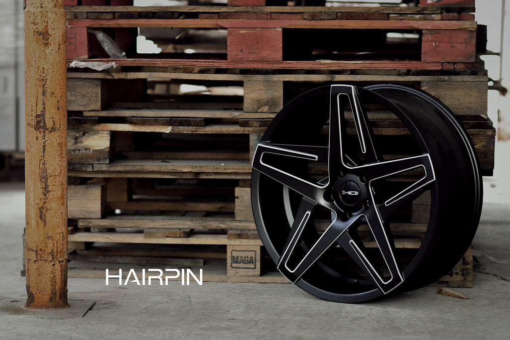 HD Wheels Passenger Car Wheels 18x8.0 | 5x114.3 | et35mm | 5.9 in | 73.1mm HD Wheels Hairpin | Satin Black with Milled Edges