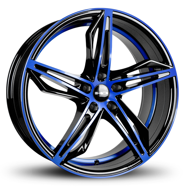 HD Wheels Passenger Car Wheels HD Wheels Fly Cutter | Gloss Black with Blue ED Coated Face Blue Custom Wheel Rims 5x114.3 5x4.50 18x8.0, 20x8.5 Inch