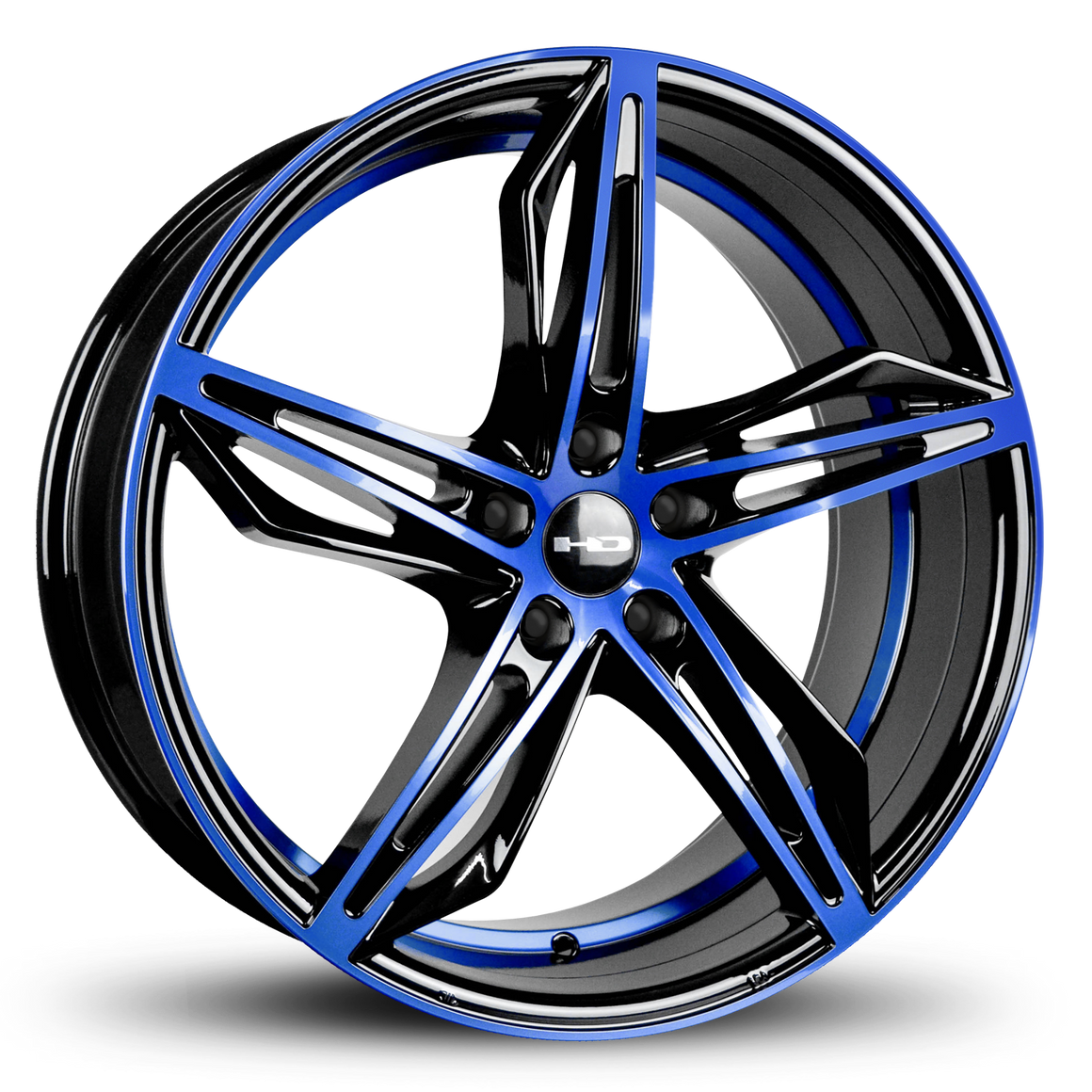 HD Wheels Passenger Car Wheels HD Wheels Fly Cutter | Gloss Black with Blue ED Coated Face