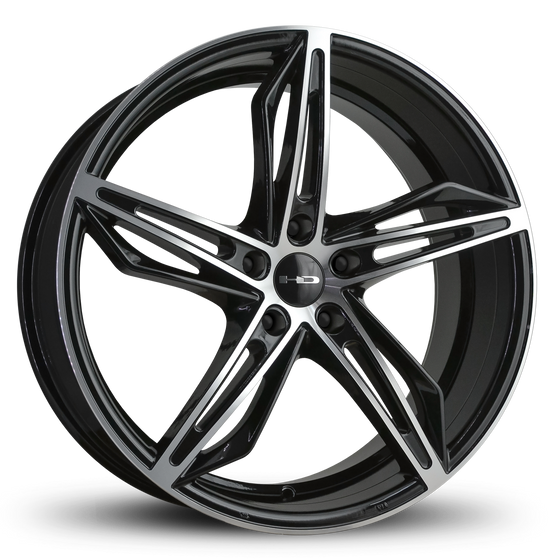 HD Wheels Passenger Car Model Fly Cutter | Gloss Black with Custom Wheel Rims 5x114.3 5x4.50 18x8.0, 20x8.5 Inch
