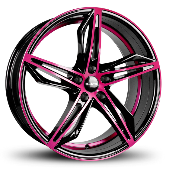 HD Wheels Passenger Car Wheels Fly Cutter in Custom Color Pink and Black Split 5 Spoke with Directional Spokes 18x8.0 and 20x8.5 5x114.3, 5x4.50 Bolt Pattern
