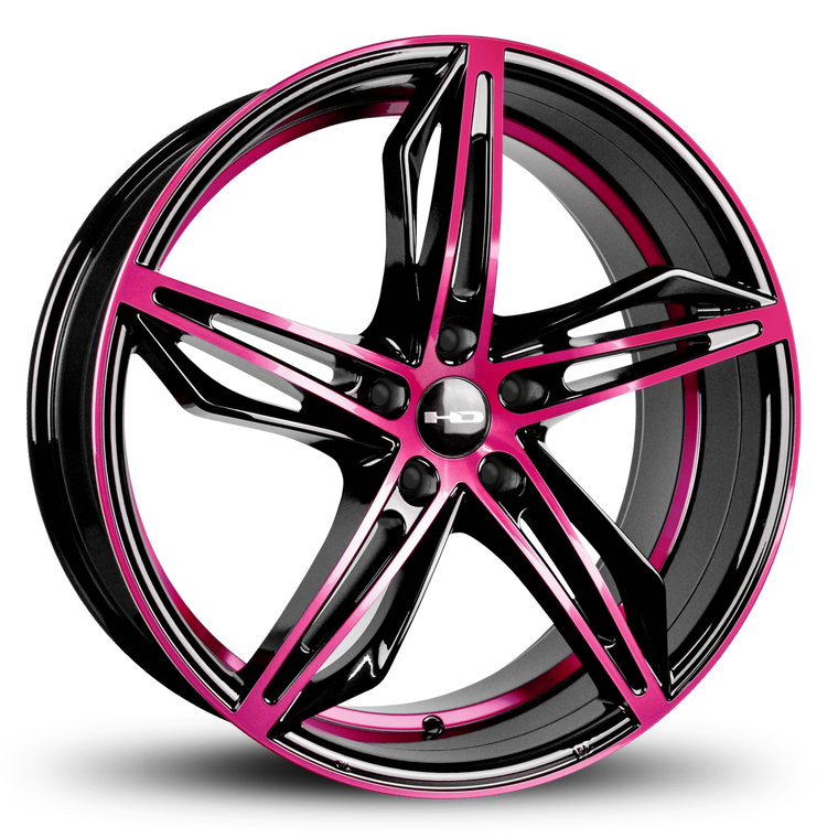 HD Wheels Passenger Car Wheels HD Wheels Fly Cutter | Gloss Black with Pink ED Coated Face