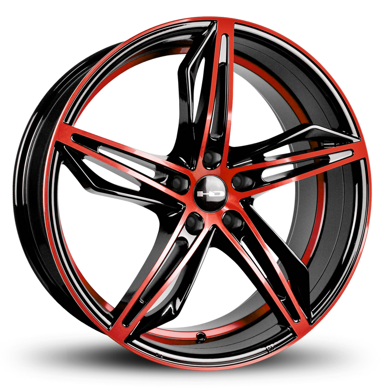 HD Wheels Passenger Car Wheels Fly Cutter in Custom Color Red and Black Split 5 Spoke with Directional Spokes 18x8.0 and 20x8.5 5x114.3, 5x4.50 Bolt Pattern