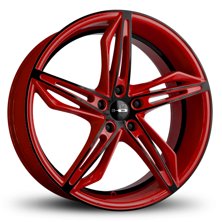 HD Wheels Passenger Car Wheels HD Wheels Fly Cutter | Gloss Red with Black ED Coated Face