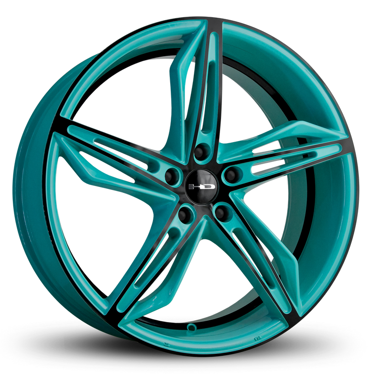 HD Wheels Passenger Car Wheels Fly Cutter in Custom Color Teal and Black Split 5 Spoke with Directional Spokes 18x8.0 and 20x8.5 5x114.3, 5x4.50 Bolt Pattern Tiffany Blue
