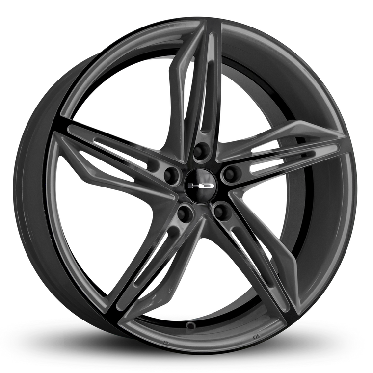 HD Wheels Passenger Car Wheels Fly Cutter in Custom Color Grey and Black Split 5 Spoke with Directional Spokes 18x8.0 and 20x8.5 5x114.3, 5x4.50 Bolt Pattern Battleship Shark Skin
