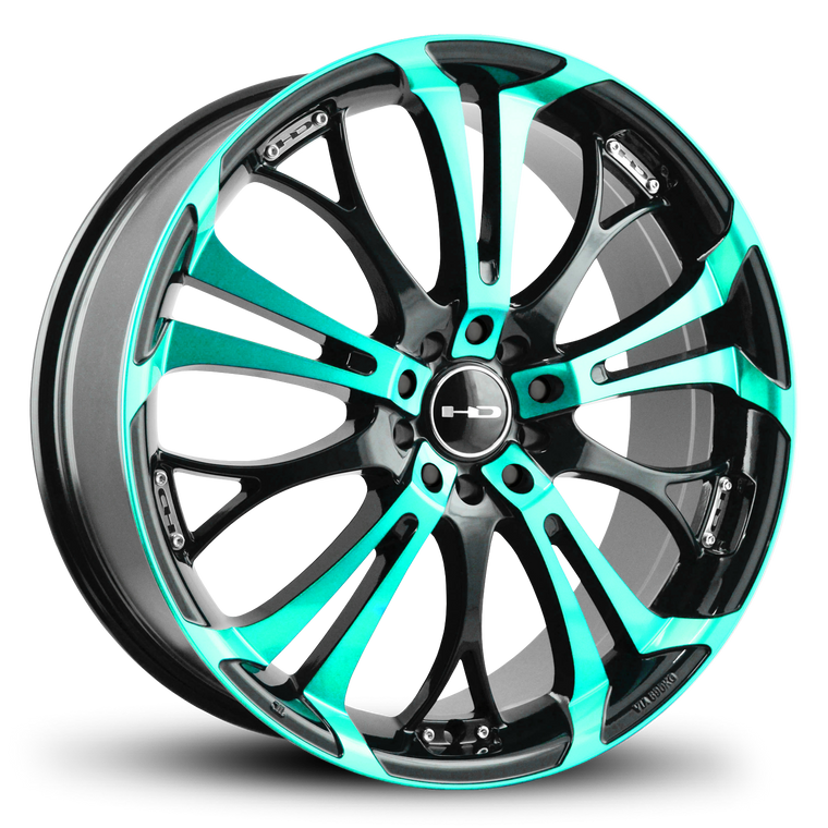 The Original HD Wheels Spinout Teal and Black Colors in 16, 17, 18, & 20 Inch Custom Wheel Rims Tiffany Blue