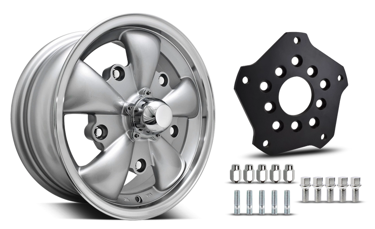 Klassik Rader Classic Car Wheels 15x5.5 | 5x112 | 4mm et | 3.4 in | 153.6mm | w Adapter 5x205 Klassik Rader Wolf with Adapter to 5x112 Vehicles ( Sold As Each )