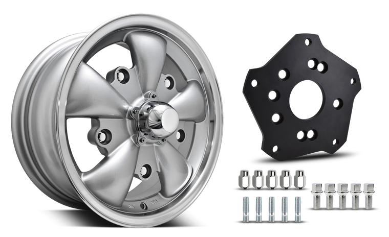 Klassik Rader Classic Car Wheels 15x5.5 | 5x205 | 4mm et | 3.4 in | 153.6mm | w Adapter 5x205 Klassik Rader Wolf with Adapter to 4x130 Vehicles ( Sold As Each )