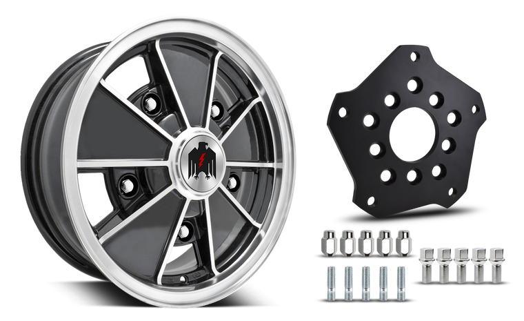 Klassik Rader Classic Car Wheels 17x7.0 | 5x205 | 4mm et | 4.2 in | 153.6mm | w Adapter 5x205 Klassik Rader Zodiac with Adapter to 5x130 Vehicles ( Sold As Each )