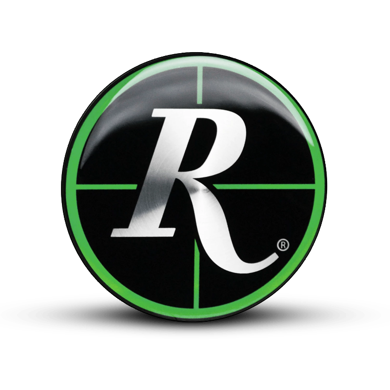 "Remington Off-Road 44.5mm ( Fits ATV & GOLF Caps Only ) / REMINGTON GREEN Remington Off-Road Wheels Replacement ""CROSSHAIRS"" Colored Logos"