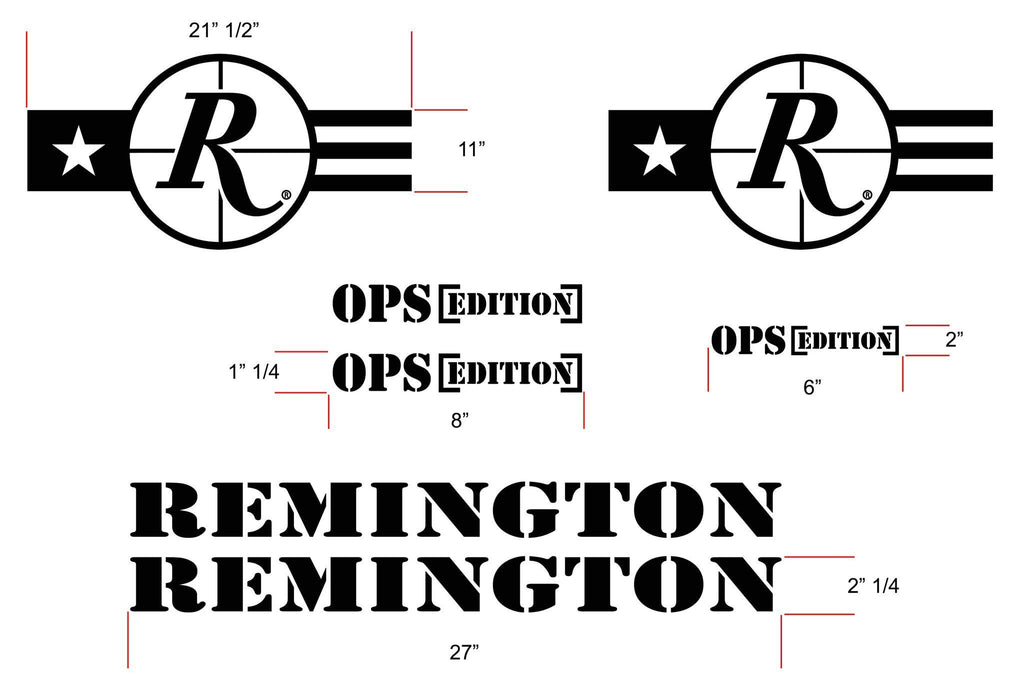 "Remington Off-Road Decal Kits Remington ""JEEP OPS"" Full Kit Remington Off-Road Die-Cut Decals - BLACK"