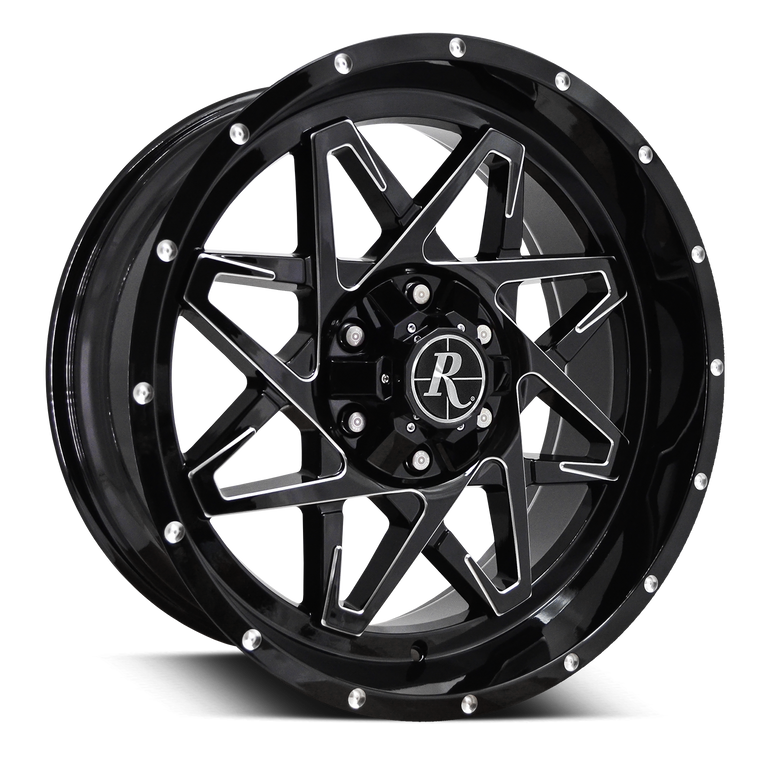 Remington Off-Road Truck & SUV Wheels 20x9.0 | 5x127/5x139.7 | et0mm | 5.0 in | 78.1mm Remington® Off-Road Wheels Caliber | Gloss Black w Milled Spokes