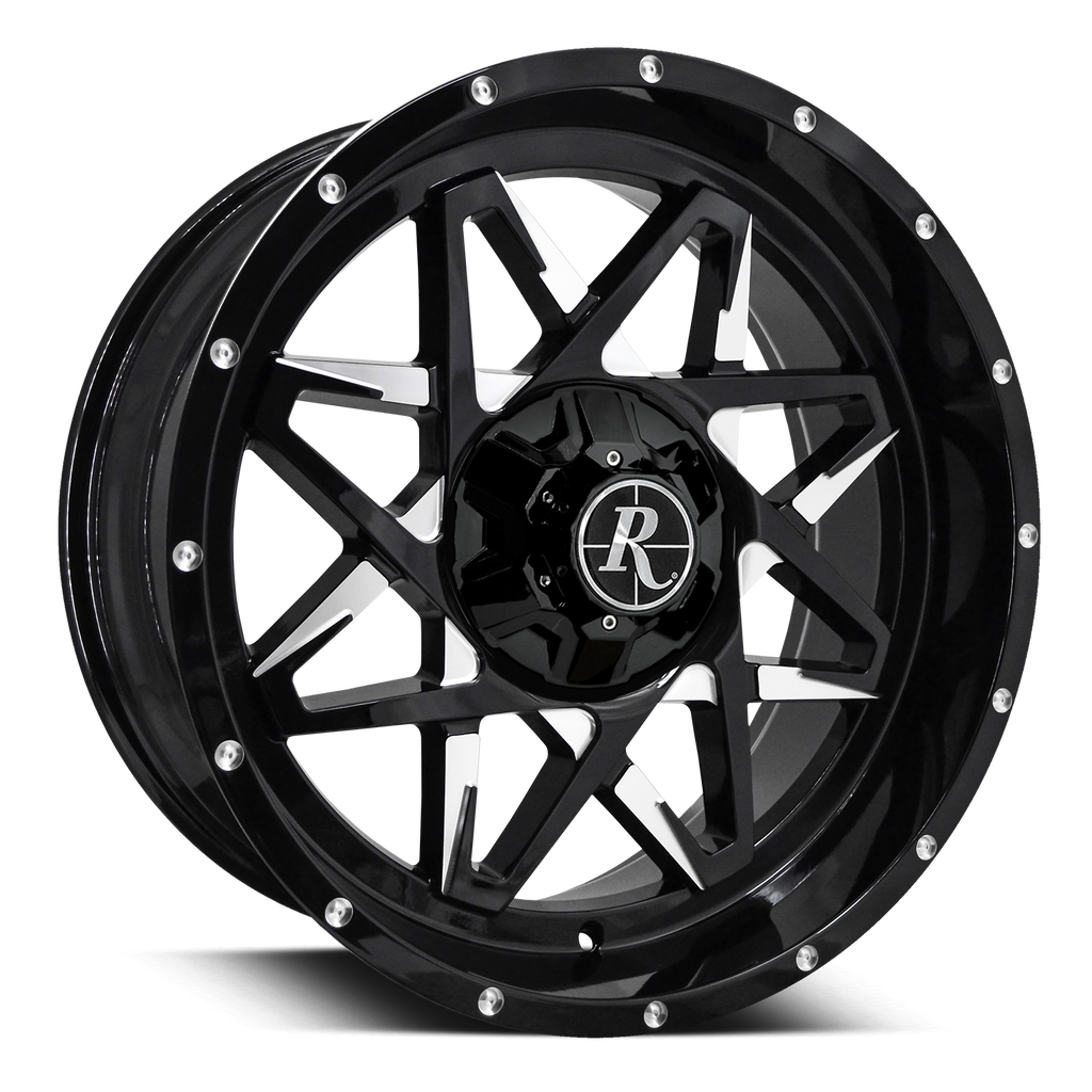 "Remington Off-Road Truck & SUV Wheels 20x9.0 | 6x120/6x139.7 | et -10mm | 4.6 in | 78.1mm Remington® Off-Road Wheels Caliber | ""Battle Edition"" Gloss Black Milled Face"