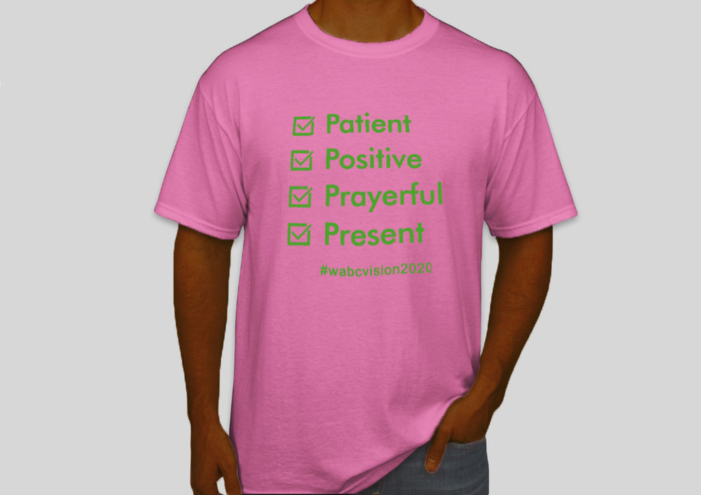 Four P's Tshirt | Pink with Green Lettering