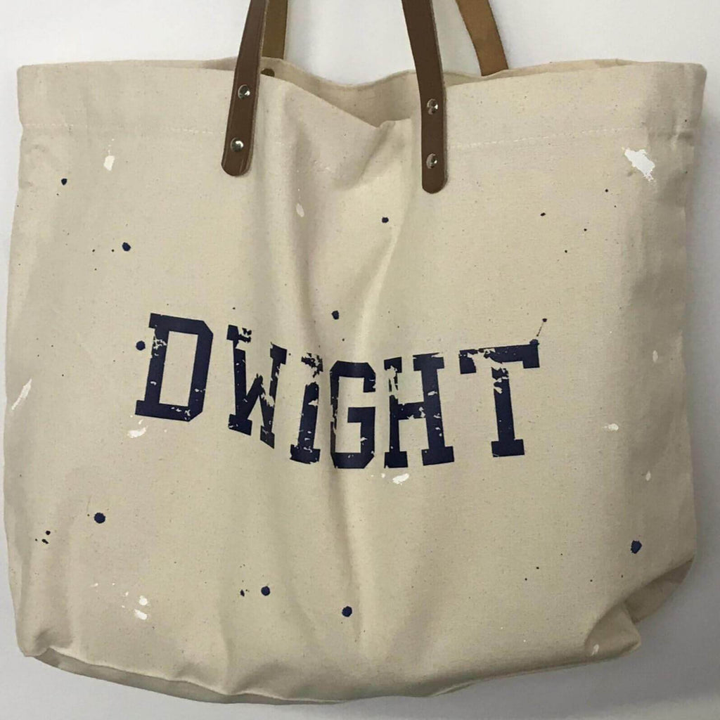 Canvas Tote Bag with Leather Handles - Splatter Clothing