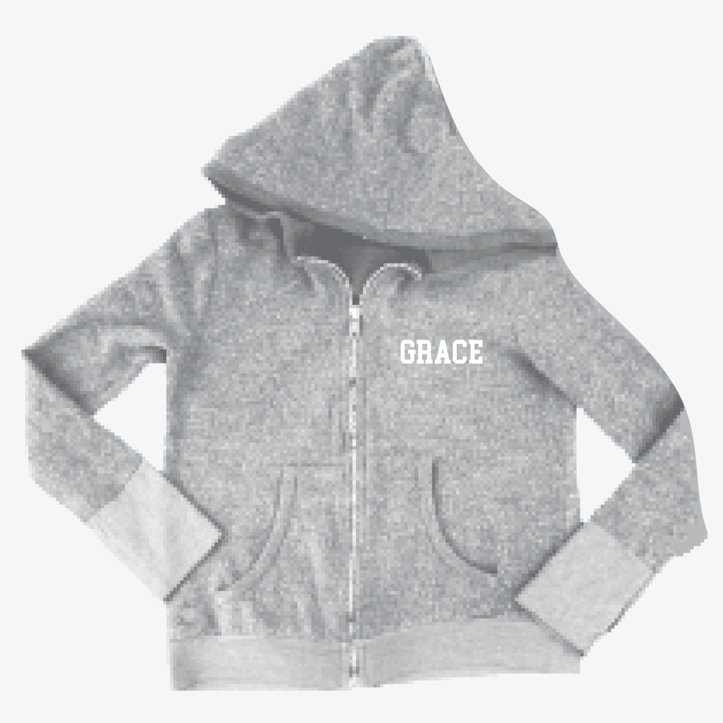 Grace School Heather Grey Cozy Zip Hoodie - Splatter Clothing