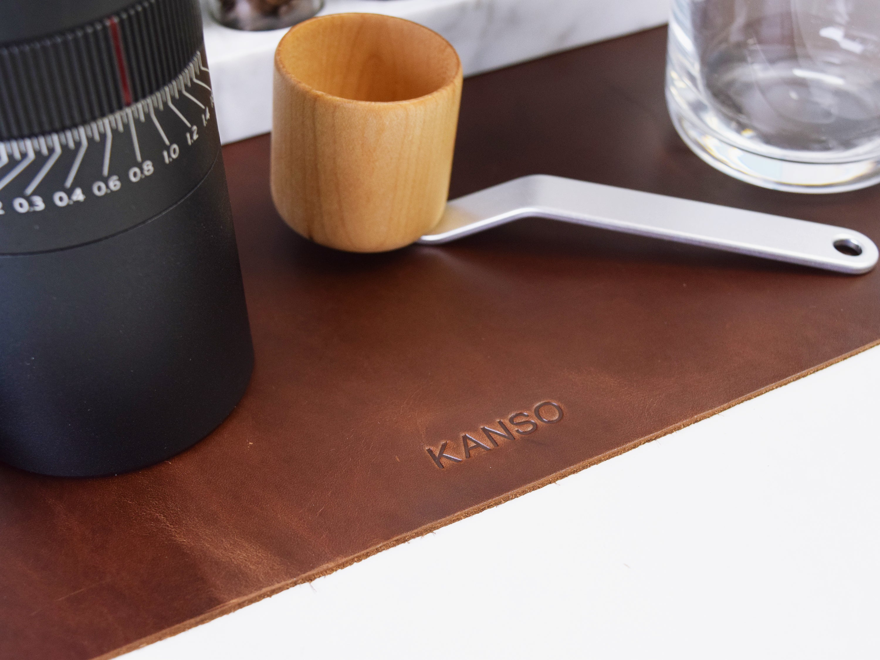 Coffee Station Leather Mat