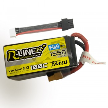 Tattu R-Line Version 2.0 1550mAh 100C 4S1P High Voltage Lipo Battery Pack with Detachable Balance Plug
