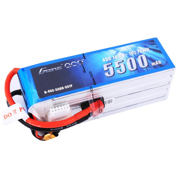 Gens ace 5500mAh 18.5V 45C 5S1P Lipo Battery Pack with Deans Plug