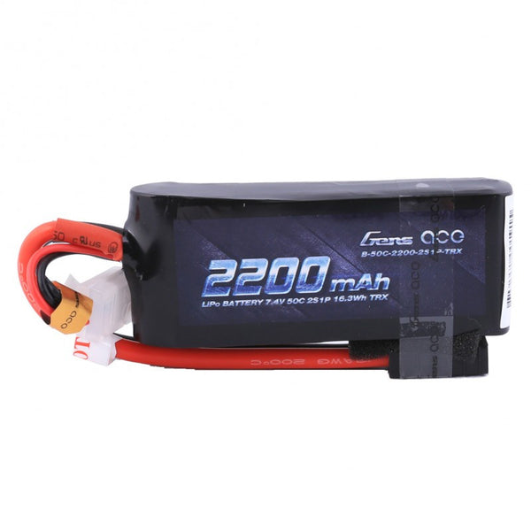 Gens ace 2200mAh 7.4V 50C 2S1P TRX Lipo Battery Pack with Traxxas plug