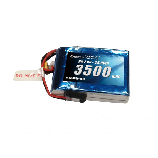 Gens ace 3500mAh 7.4V RX 2S1P Lipo Battery Pack with EC3 plug