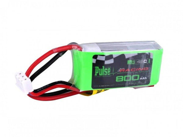 PULSE 800mAh 7.4V 2S 45C Lipo Battery with red JST connector