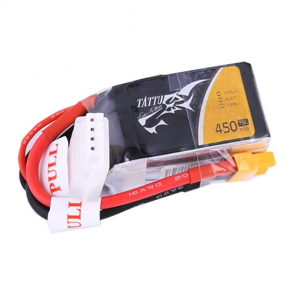 Tattu 450mAh 11.1V 75C 3S1P Lipo Battery Pack with XT30 plug
