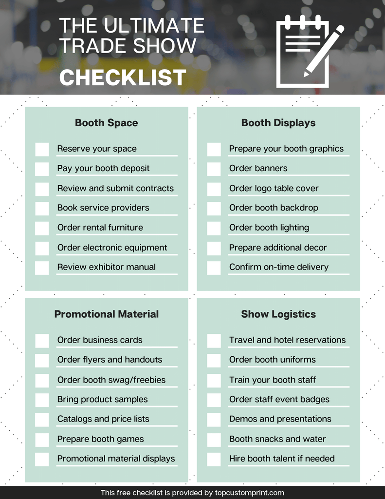 trade show exhibitor booth checklist