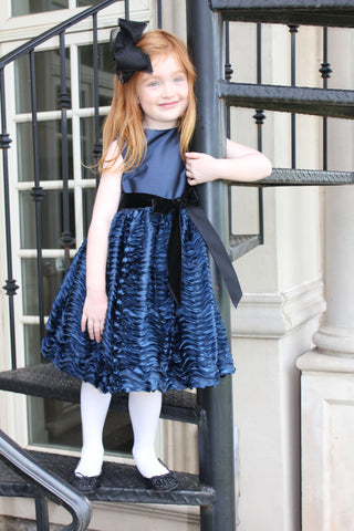 Navy dress with wave skirt