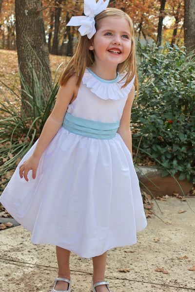 White dress with ruffle collar with v back and blue trim