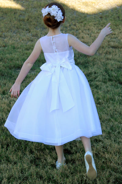 White silk organza dress with illusion neckline and beaded waist
