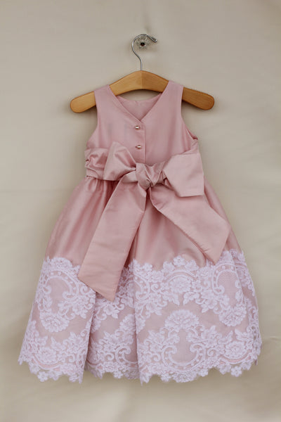 Pink dress with lace trim