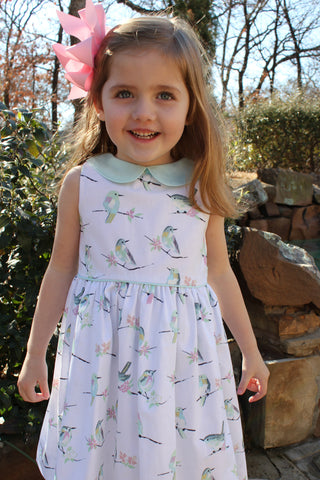 Bird print dress with mint collar