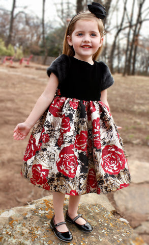 Black velvet bodice with faux fur sleeves and rose skirt