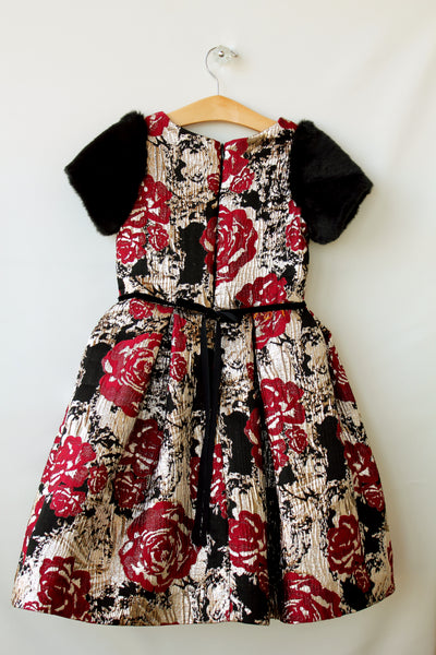 Floral brocade dress with faux fur sleeves