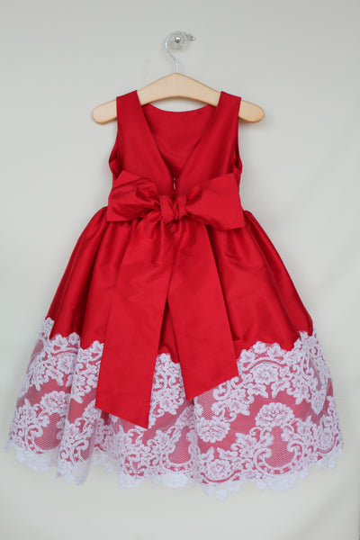 Red dress with lace trim