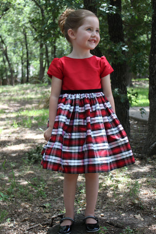 Red bodice with plaid skirt