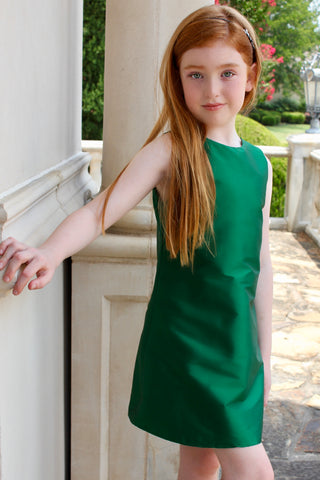 Green a line dress with keyhole back.