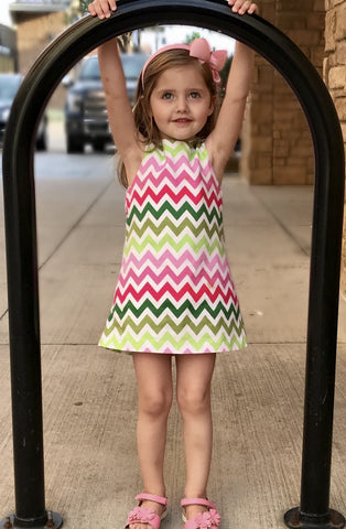 Multi color chevron aline dress