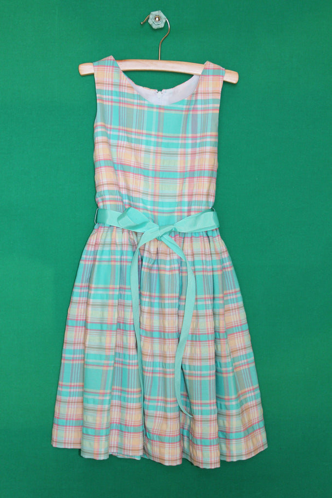 Aqua madras plaid dress